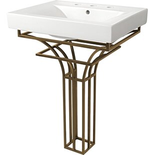 D'Vontz Iron Virtus Ceramic Rectangular Pedestal Bathroom Sink
