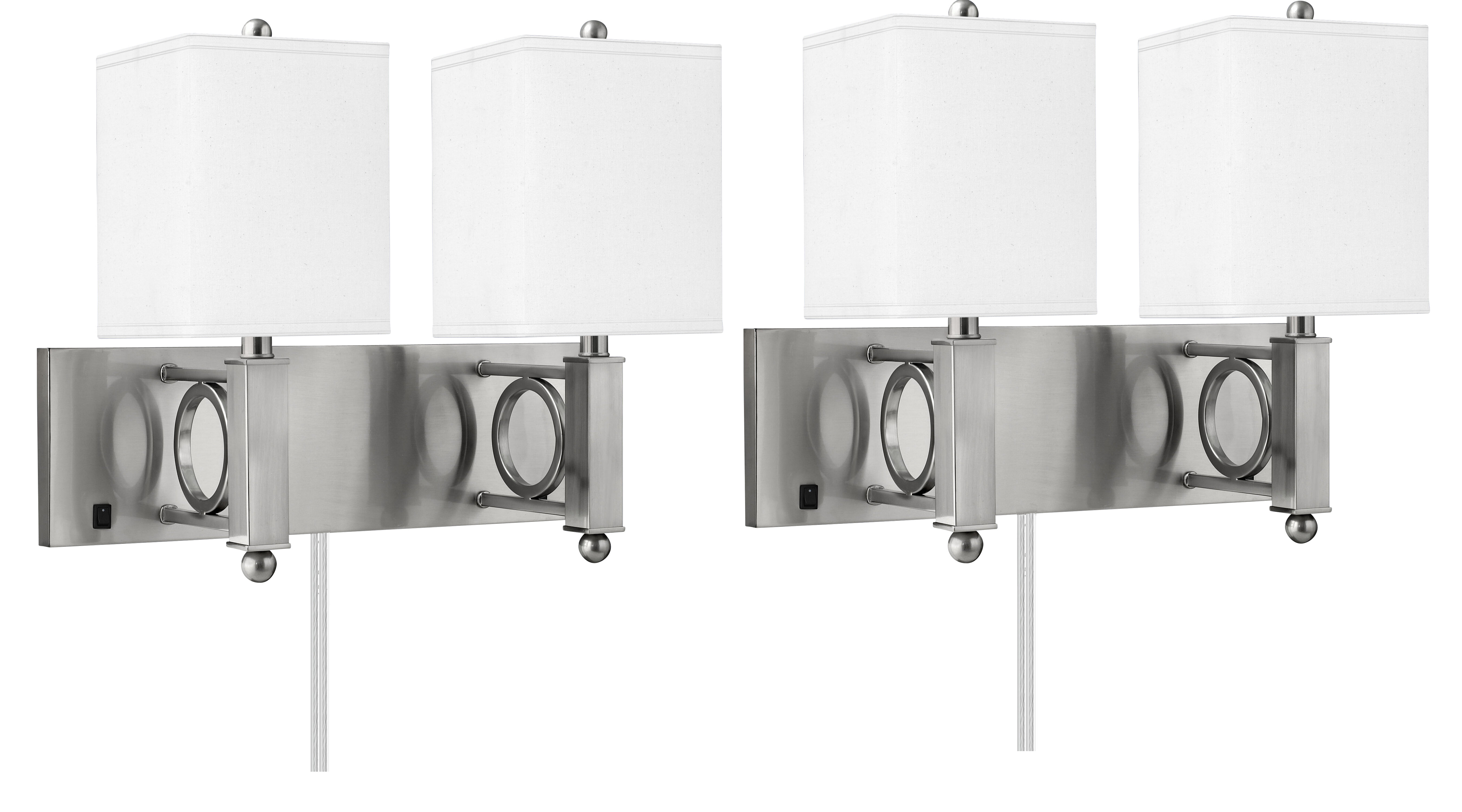 Medallion Lighting 2 Light Dimmable Plug In Brushed Steel Armed Sconce