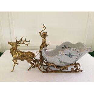 Handmade Sleigh Deer Porcelain Craft Tabletop Wine Bottle Rack by Westmen Lights