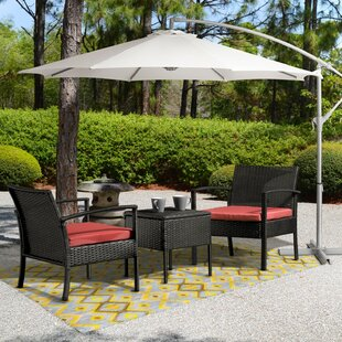Patrice Outdoor 3 Piece Rattan with Cushions by Wrought Studio