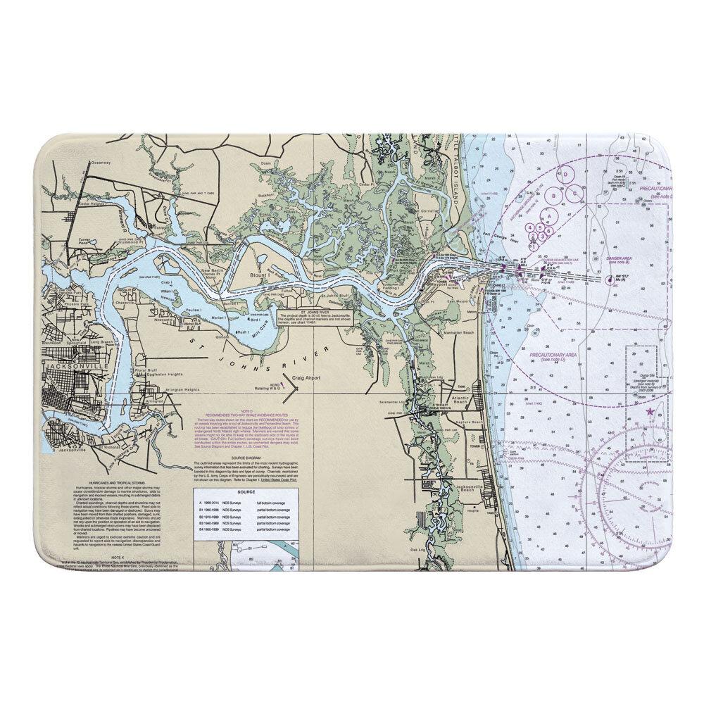 Breakwater Bay Nautical Chart Jacksonville Fl Rectangle Memory Foam Non Slip Bath Rug Wayfair