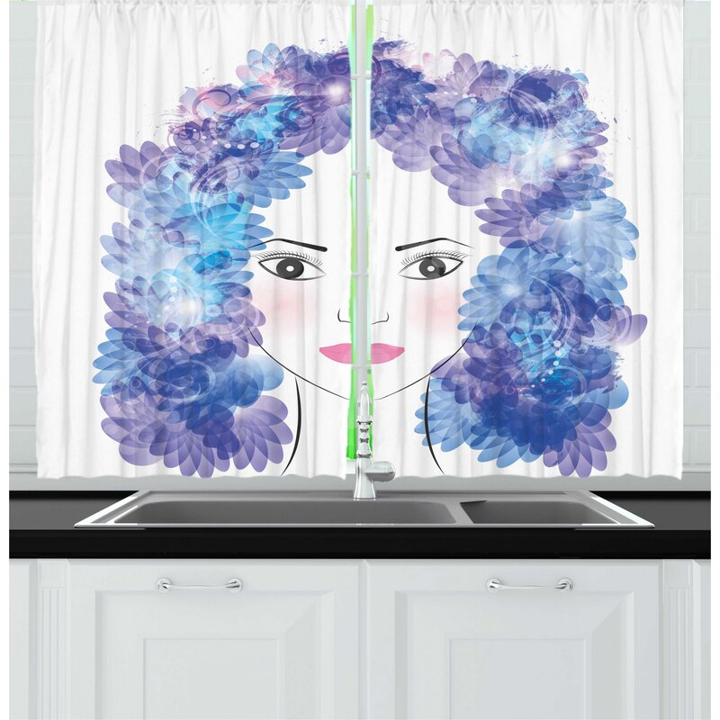 East Urban Home 2 Piece Abstract Woman Digital Graphic Of Flowers In Hair Kitchen Curtain Set Wayfair