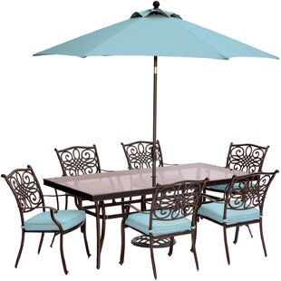 Three Posts Lauritsen 7 Piece Golden Bronze Dining Set with Cushions