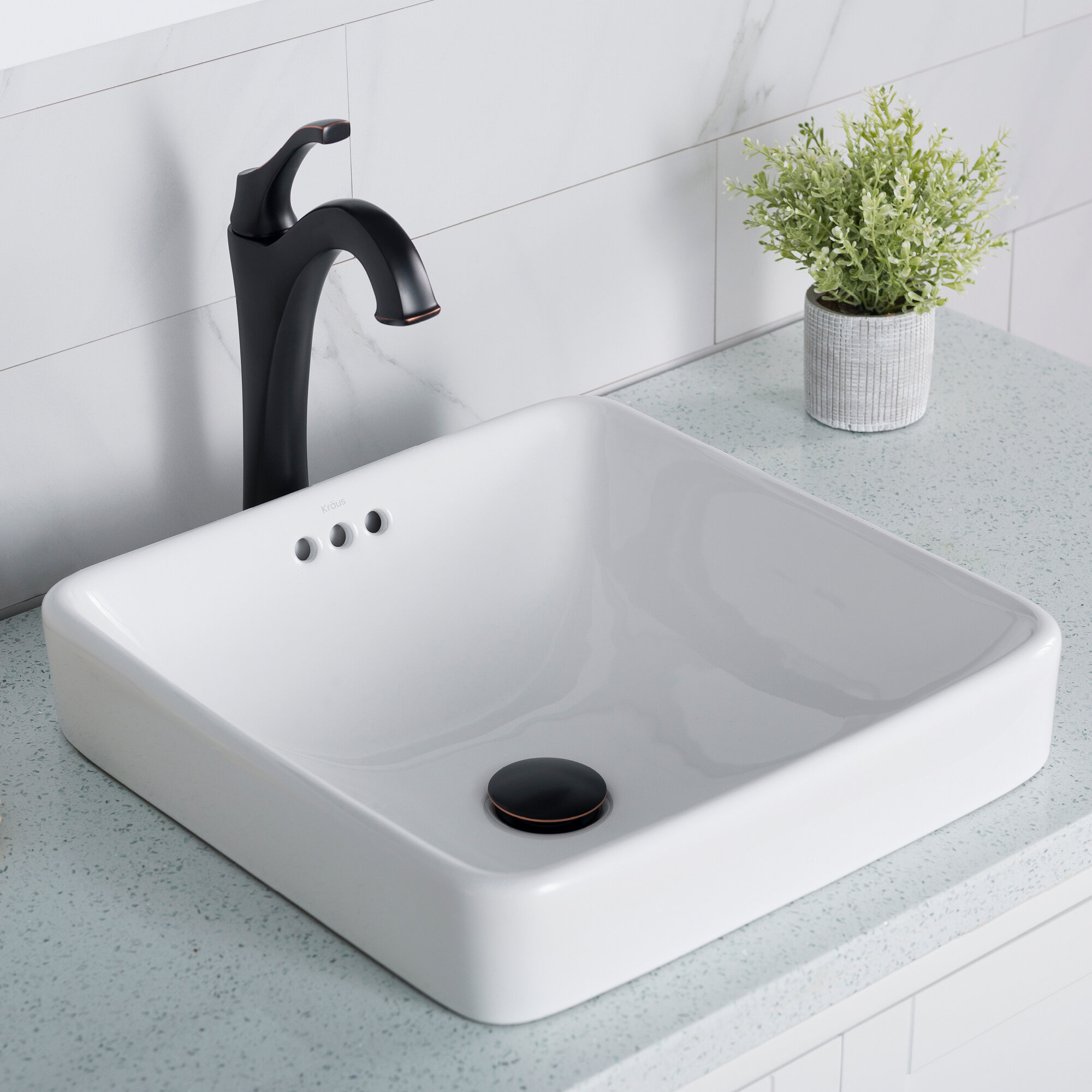Elavo Ceramic Square Semi Recessed Bathroom Sink With Overflow