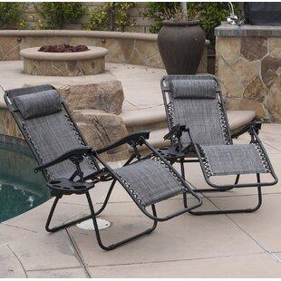 Zipcode Design Winnett Zero Gravity Chaise Lounge with Cushion (Set of 2)