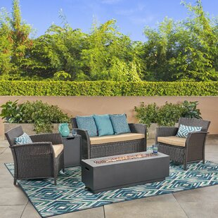 Ayala Outdoor 5 Piece Rattan Sofa Seating Group with Cushions