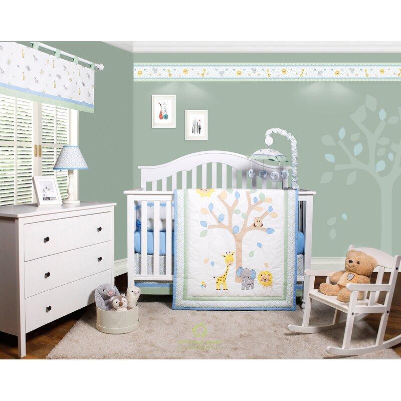 Beazer Safari Jungle Animals 6 Piece Baby Nursery Crib Bedding Set