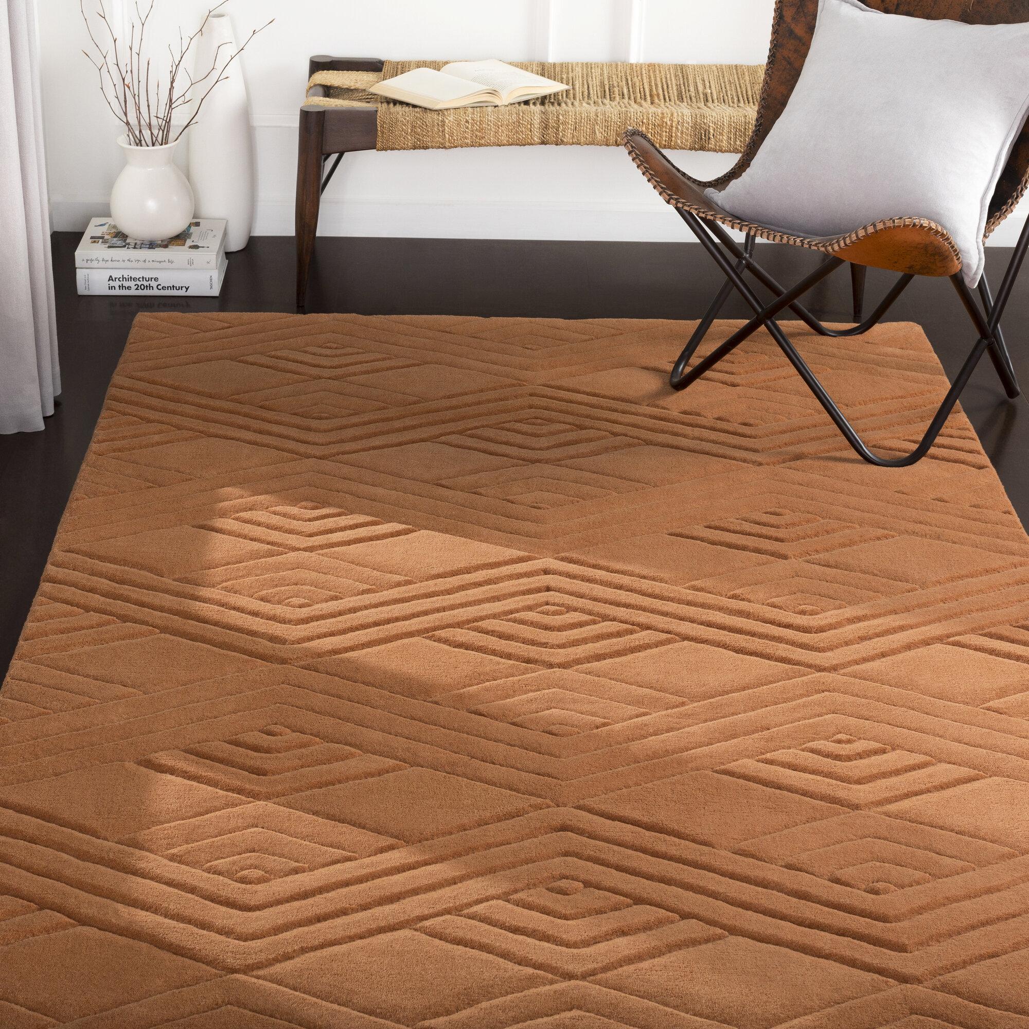 Mercer41 Adrienne Geometric Handwoven Wool Burnt Orange Area Rug Wayfair