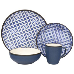 Crystal 16 Piece Dinnerware Set, Service for 4