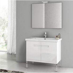 New York 34 Single Bathroom Vanity Set with Mirror by ACF Bathroom Vanities