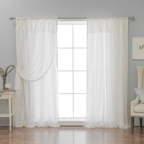 Ariella Faux Silk Tulle Overlay Solid Semi Sheer Thermal Rod Pocket Curtain Panels Reviews