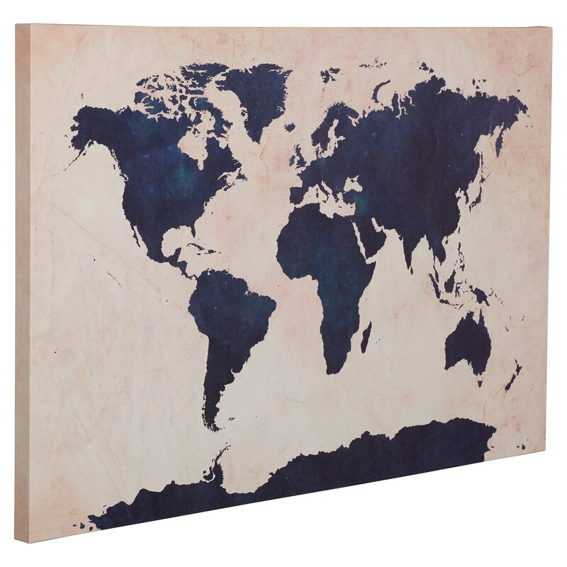 World map navy framed graphic art print on canvas reviews world map navy framed graphic art print on canvas gumiabroncs Images