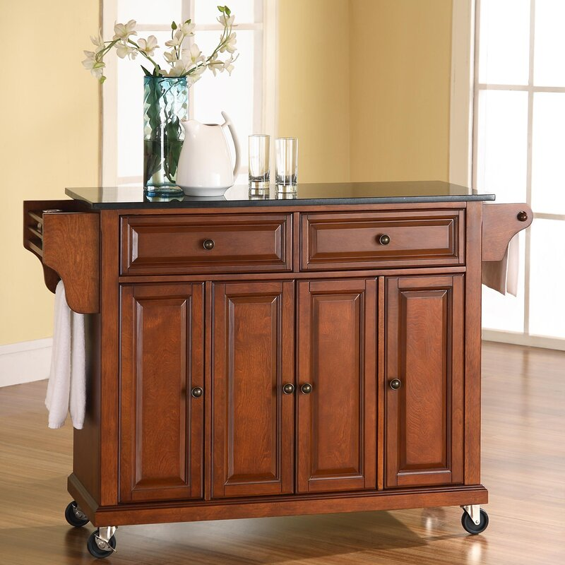 Darby Home Co Pottstown Kitchen Island with Granite Top  Reviews