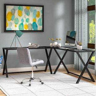Odalis Glass L-Shape Corner Desk by Ebern Designs