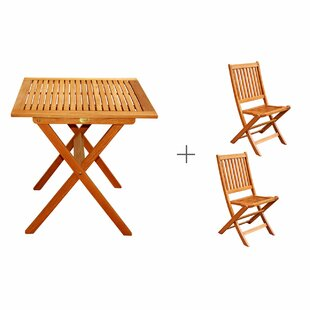 Three Posts Cadsden 3 Piece Folding Bistro Dining Set