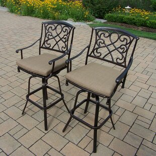 Ericka Patio Bar Stool with Cu..