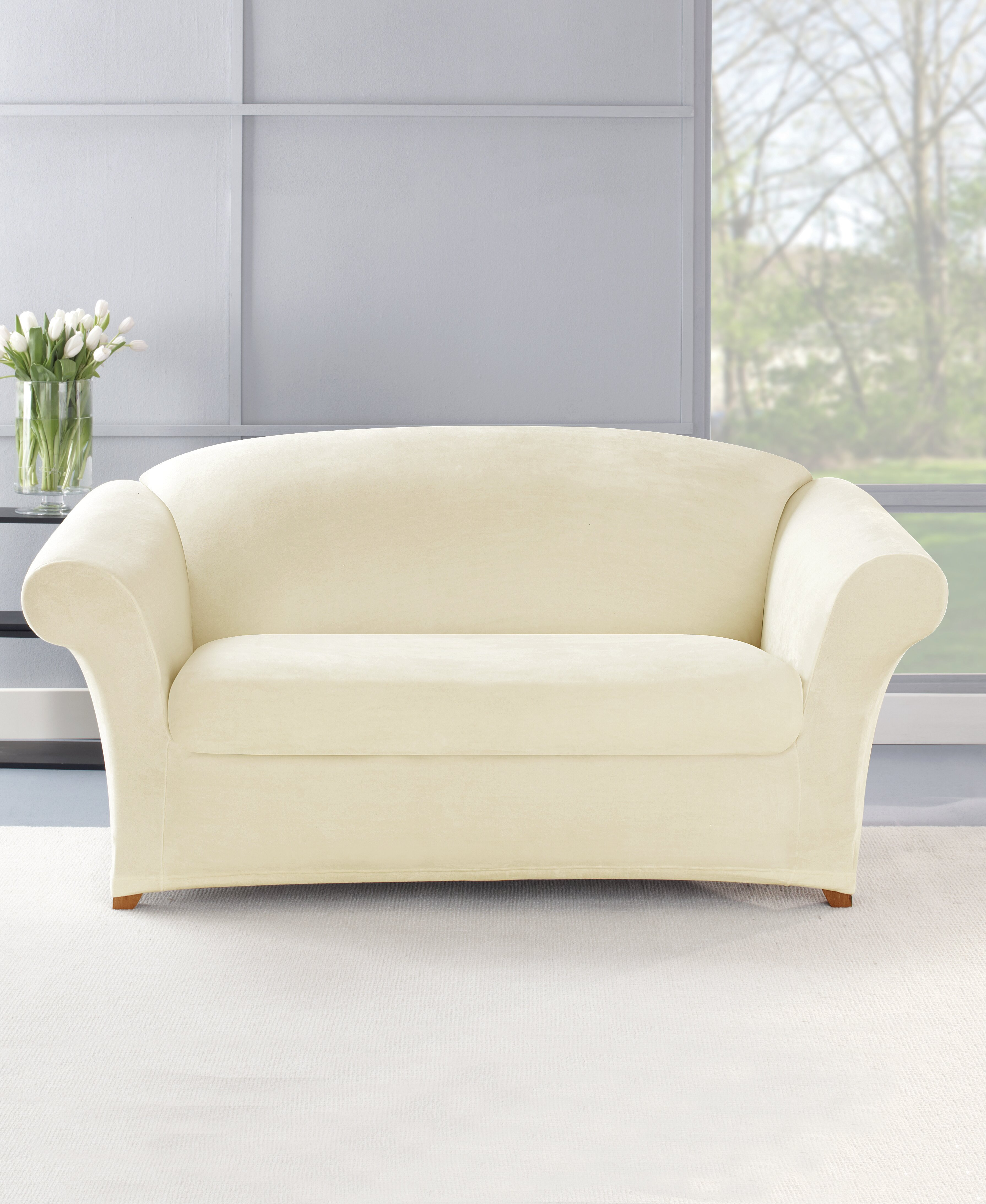 Swell Stretch Plush 2 Piece Loveseat Slipcover Set Unemploymentrelief Wooden Chair Designs For Living Room Unemploymentrelieforg