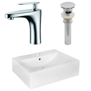 Compare & Buy Above Counter Ceramic Rectangular Vessel Bathroom Sink with Faucet and Overflow By Royal Purple Bath Kitchen