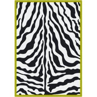 Shop For Braunstein Zebra Glam Citrus Black/White Area Rug ByWorld Menagerie