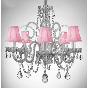 House of Hampton Kamen Swarovski 5-Light Shaded Chandelier