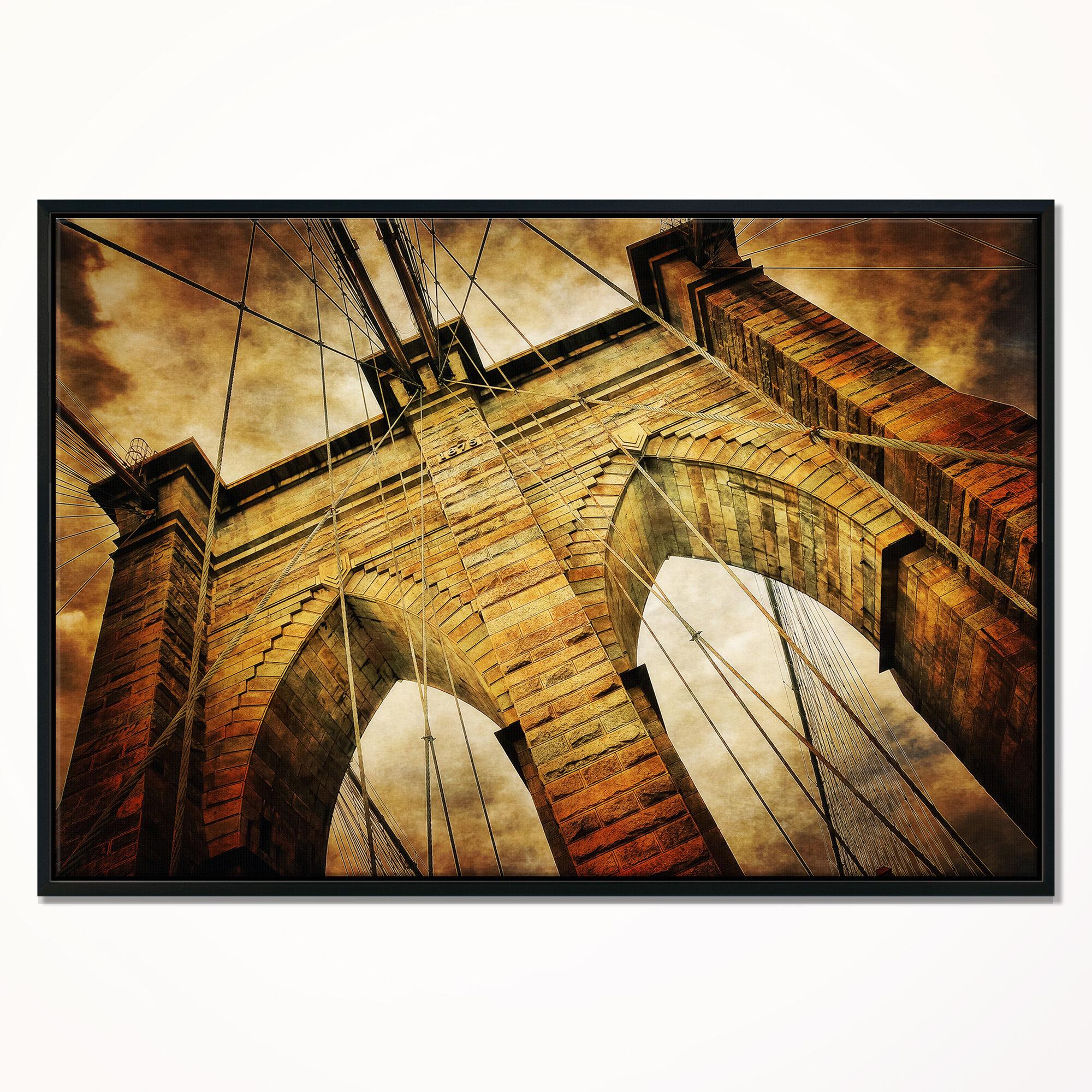 East Urban Home \'Vintage Brooklyn Bridge\' Framed Graphic Art Print ...