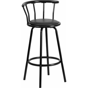 Eberhard Crown Back Metal 30'' Swivel Bar Stool Ebern Designs