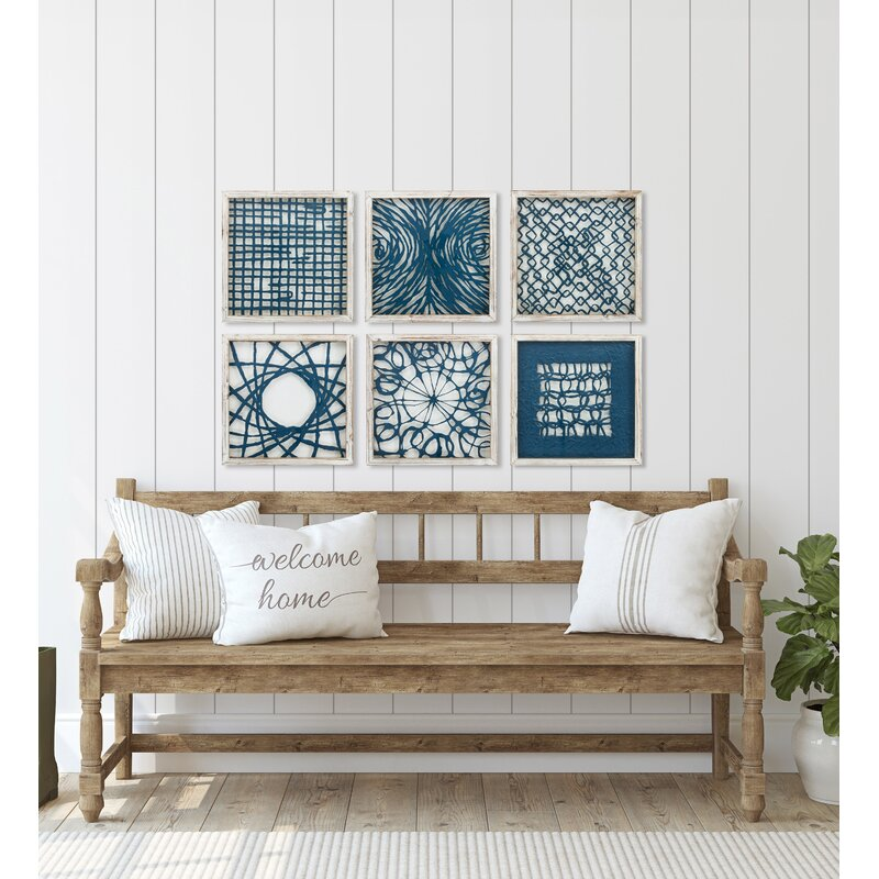'Blue Natural Element' - 6 Piece Picture Frame Graphic Art Print Set on Glass