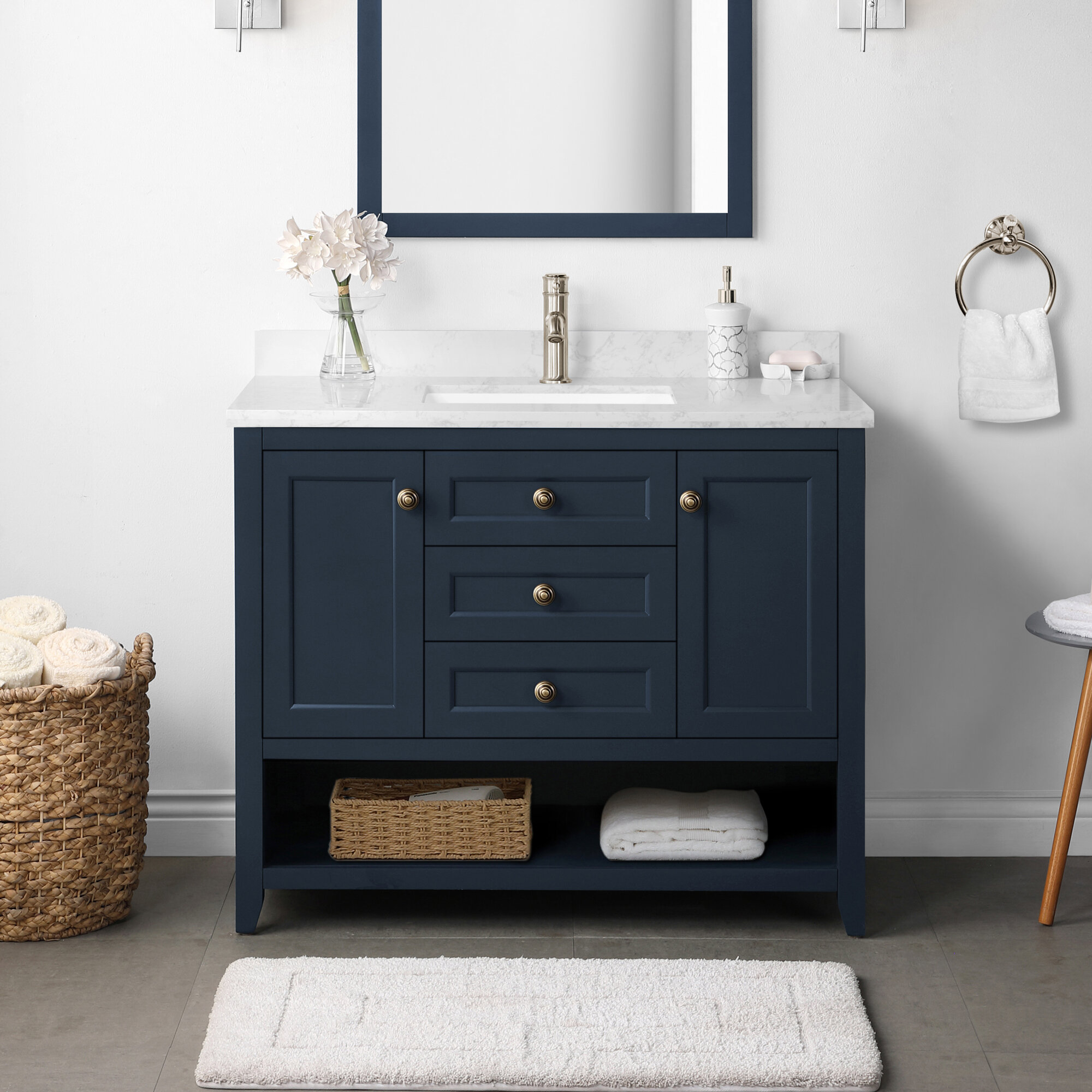Martha Stewart Granary 42 In Vanity From Lily Pond Collection In Midnight Blue Finish Wayfair Ca
