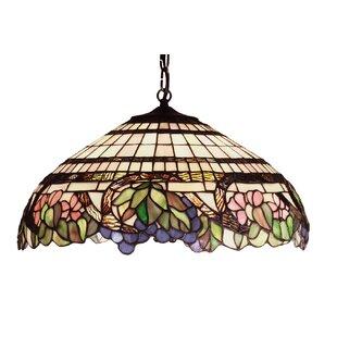 Tiffany Floral Handel Grapevine 3-Light Inverted Pendant by Meyda Tiffany