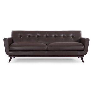 Luther Mid Century Modern Vintage Leather Sofa by Corrigan Studio