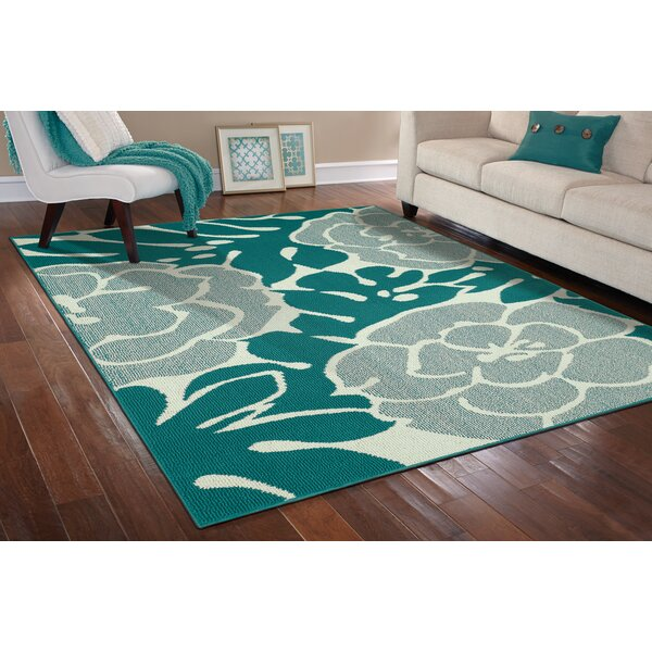 Wrought Studio Stackhouse Floral Tufted Teal Ivory Area Rug Reviews Wayfair