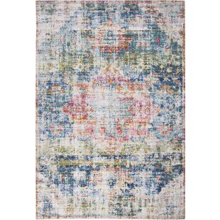 Saltz Handwoven Flatweave Blue/Ivory/Red Area Rug by Bungalow Rose