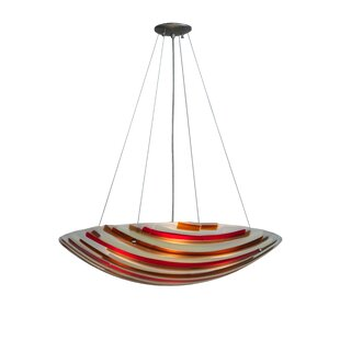 Meyda Tiffany Greenbriar Oak Metro Fusion Marina 4-Light Bowl Pendant