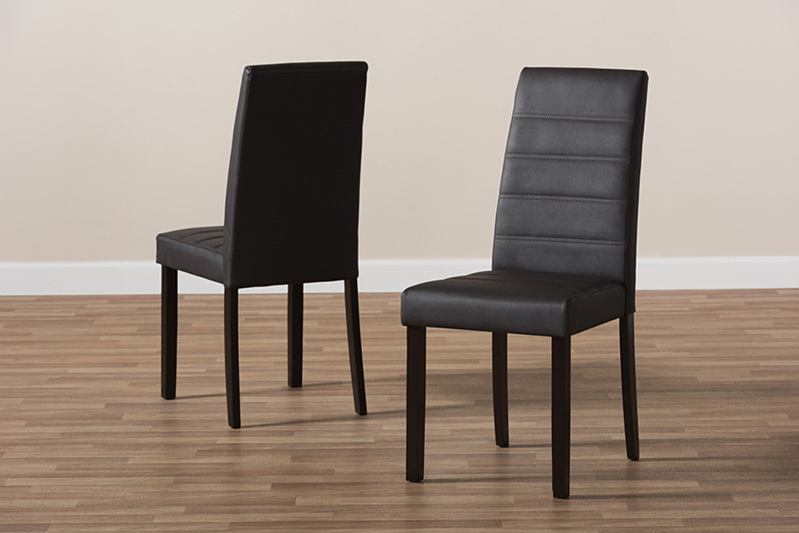 6 Brown Faux Leather With Oak Stained Leg Dining Chairs Free 48 Hour Delivery
