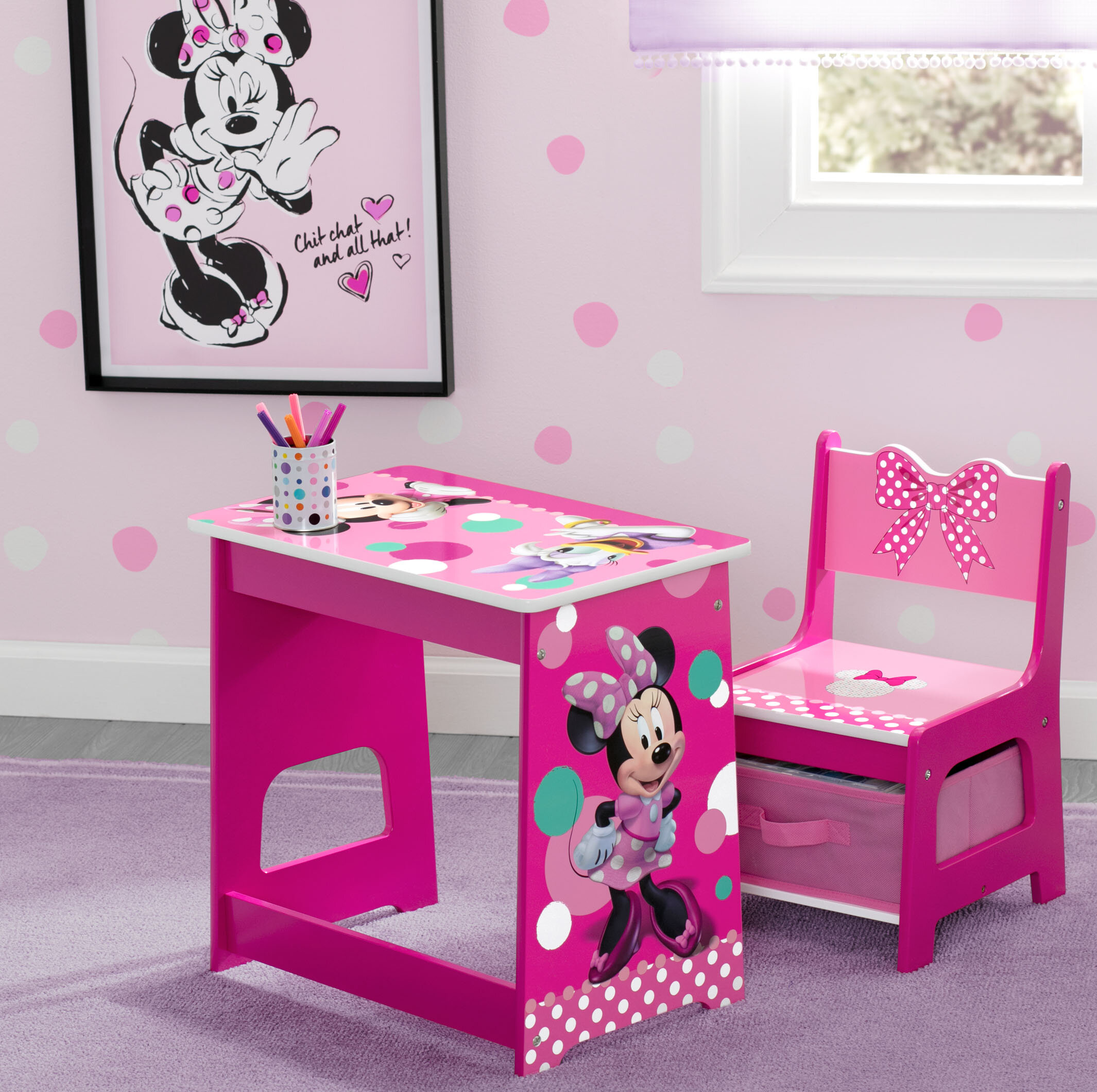 Superb Disney Minnie Mouse Kids 2 Piece Activity Table And Chair Set Pdpeps Interior Chair Design Pdpepsorg