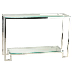 Shepler Contemporary 2 Shelf Glass Console Table