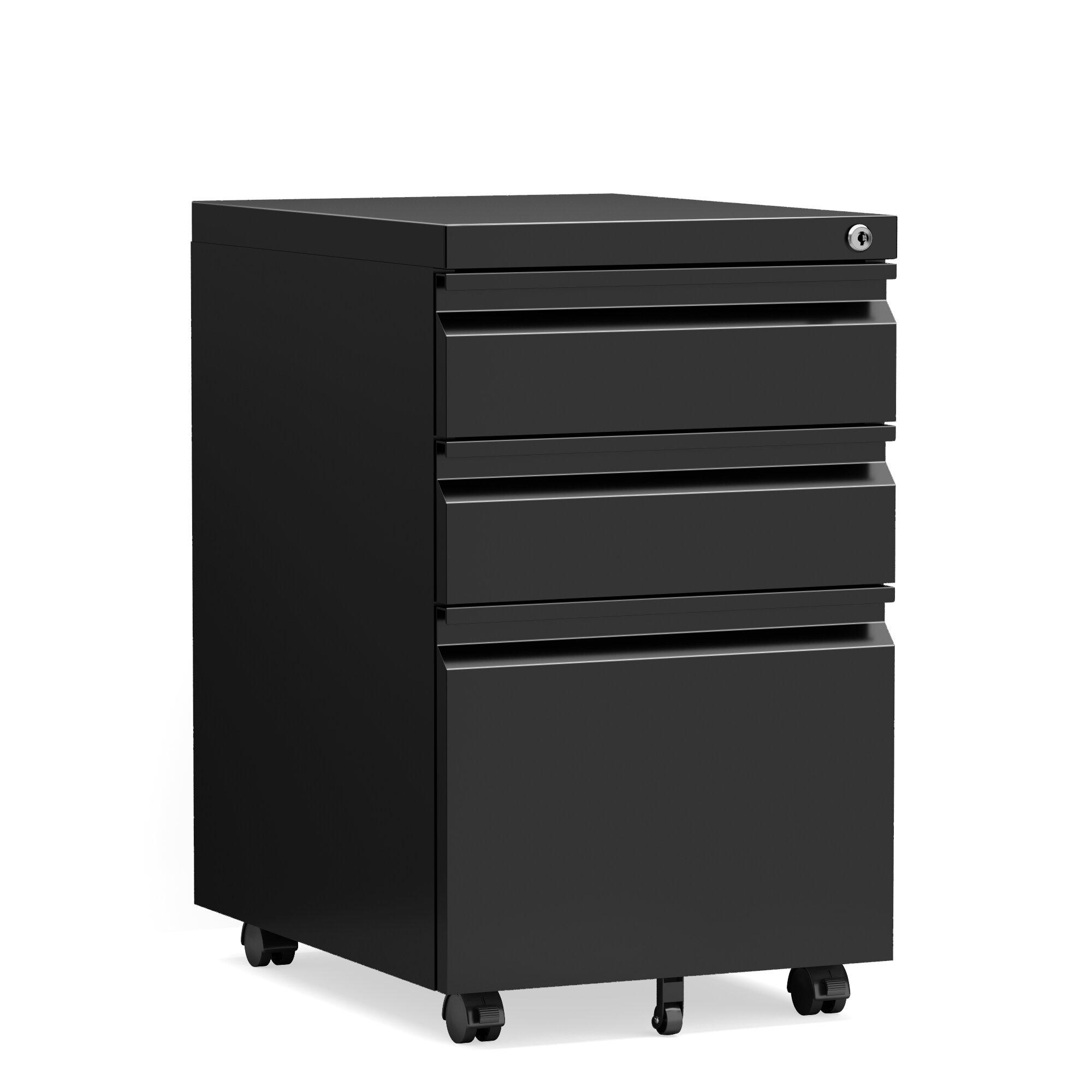 Inbox Zero File Cabinet3 Drawer Under Desk Metal Filing Mobile