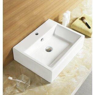 Royal Purple Bath Kitchen Ceramic Rectangular Vessel Bathroom Sink with Overflow