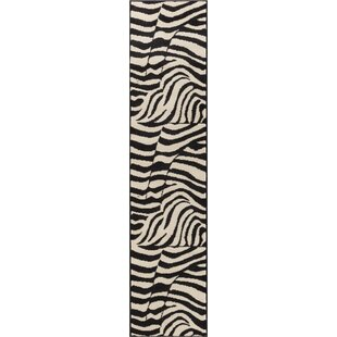 Affordable Price Emeline Zebra Black/White Animal Print Area Rug By Bloomsbury Market