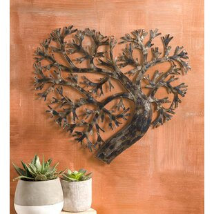 Recycled Metal Heart Shape Tree Of Life Wall Décor