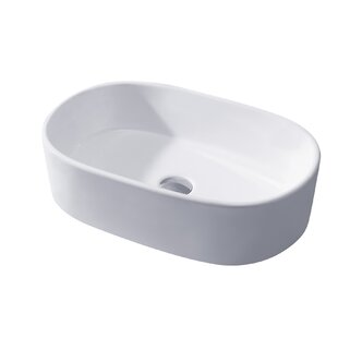 Luxier Ceramic Oval Vessel Bathroom Sink