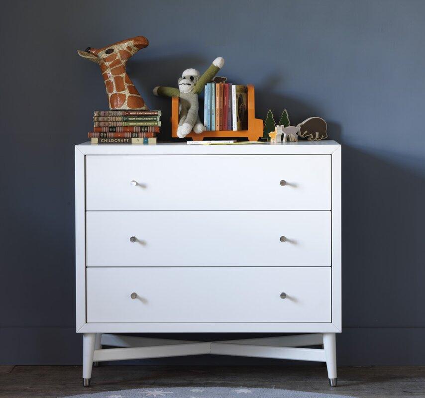 High Quality Mid Century 3 Drawer French White Dresser