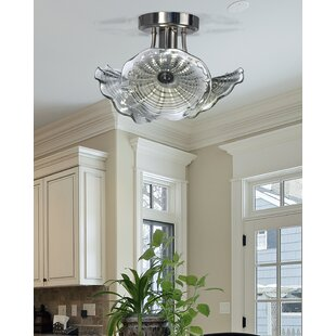 Mohr Glass 1-Light LED Semi Flush Mount by Highland Dunes