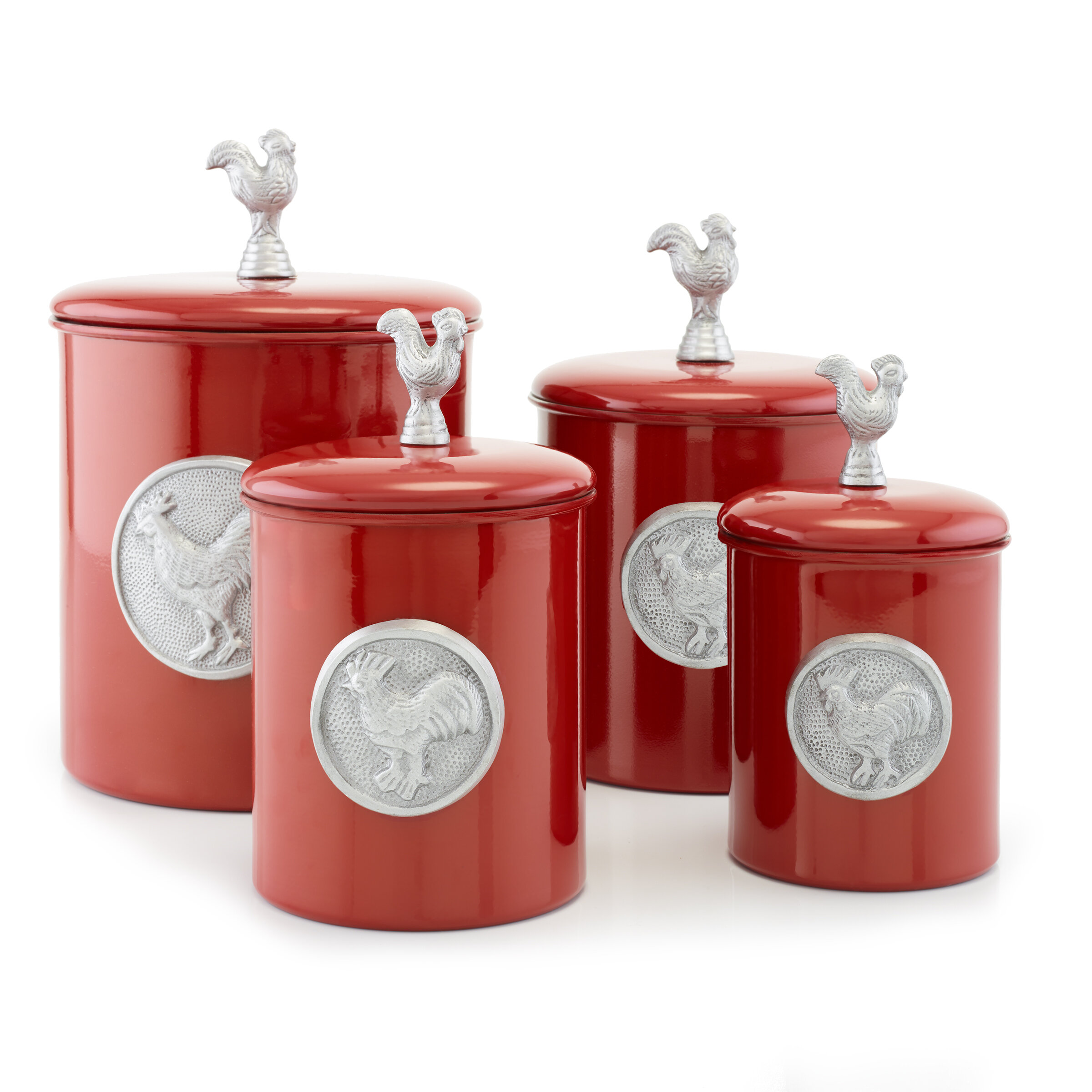 Exceptionnel Red Rooster 4 Piece Kitchen Canister Set