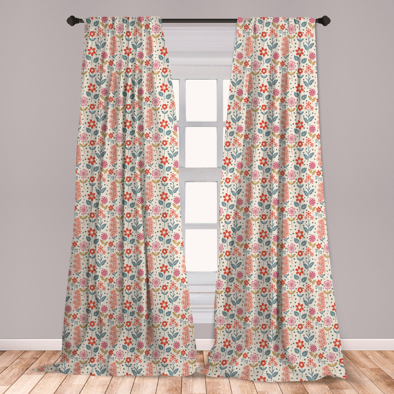 Ambesonne Retro Curtains, Rustic Inflorescence Pattern Different Violets  Bedding Plants With Little Squares, Window Treatments 2 Panel Set For  Living ...