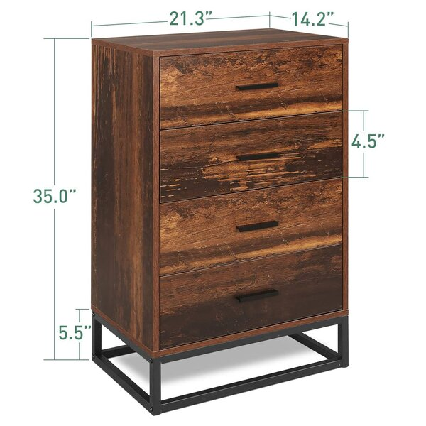 Multiple Finishes Contemporary Style Office Furniture Home Furniture Elegant Design Drawerr Chest with Metal Handles Rustic Oak Laminated Partical Board 4-Drawer Chest BONUS e-book