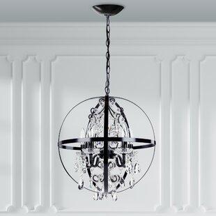 Black wrought iron chandeliers youll love wayfair luna 5 light globe chandelier aloadofball Gallery