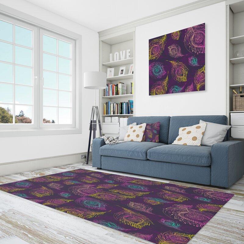 East Urban Home Geometric Polyester Purple Yellow Blue Area Rug Wayfair