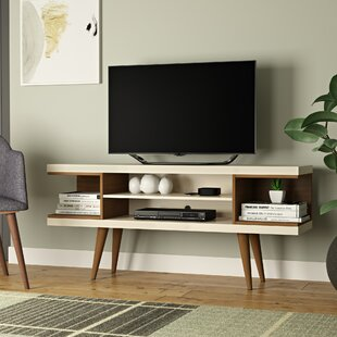 Lemington 53 inch  TV Stand with Splayed Wooden Legs and 4 Shelves