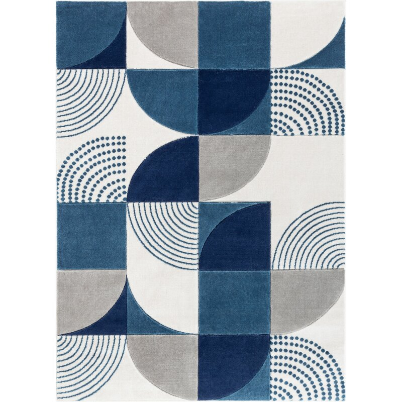 Well Woven Good Vibes Margot Modern Geometric Chevron Blue Gray